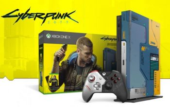Xbox One X в стилистике Cyberpunk 2077