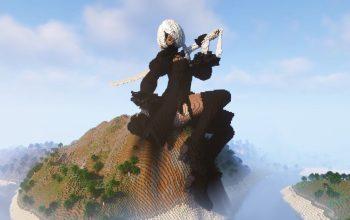 Игрок вручную построил огромную статую 2B в Minecraft